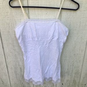 White cami/tank lace trim built in bra!